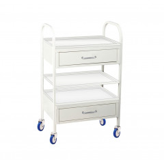 Metal tool table with drawers and shelf