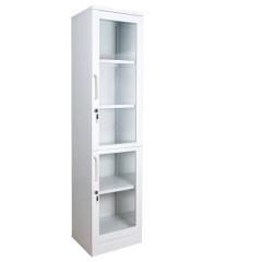Шкаф для медикаментов металлический 2-х дверный с замком и стеклянными дверьми ШМЛ-102