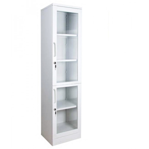 Шкаф для медикаментов металлический двух дверный с замком и стеклянными дверьми ШМЛ-102