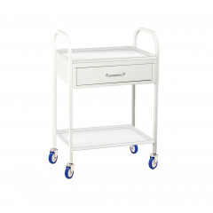 Metal tool table with drawer and shelf
