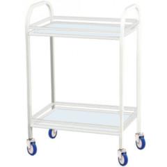 Стол инструментальный медицинский с 2 стеклянными полками и ограждениями