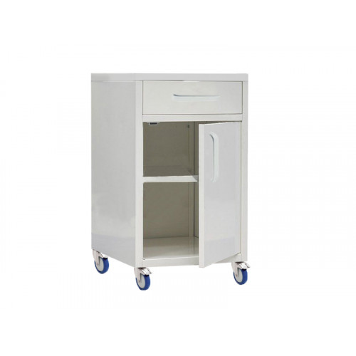 Medical mobile bedside table with niche and drawer